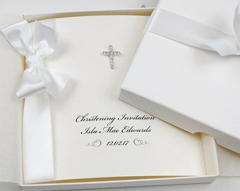 Christening Invitations / Baptism Invitations / Handmade Personalised Invite with Diamonté Cross