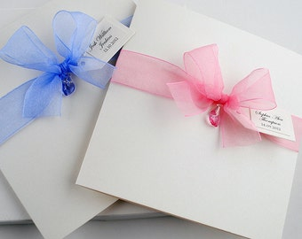 LUXURY Christening Invitations / Baptism Invitations // Handmade Personalised Invite with Swarovski Crystal Heart