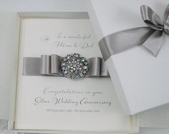 Luxury Silver Wedding Anniversary Card //  25th Wedding Anniversary Card *// Gift Boxed Card