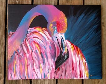 Pink Flamingo 16x20 Original Painting