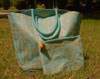 Monogrammed Mud Pie Beach Tote with Cosmetic Bag