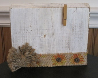 Rustic Picture Holder White Washed Picture Holder Repurposed Wood Picture Holder