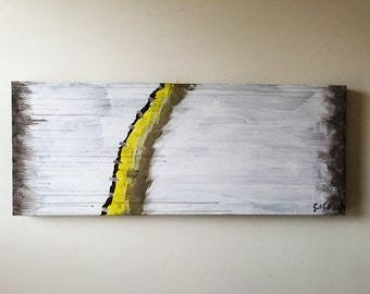 """Abstract Acrylic Painting """"Shaman's Satchel"""" on salvaged canvas for wall of interior decor, modern office, gaming, fantasy (32""""x12.75"""")"""