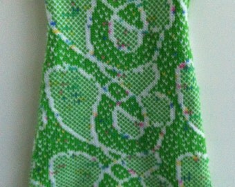 Green-White baby dress