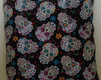 Sugar Skull Throw Pillow with Lime Green Back