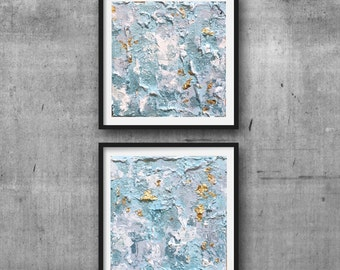 Set of two modern blue abstract painting, gold leaf abstract painting, light blue abstract art, gold leaf art, 6 X 6 canvas original
