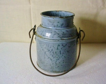 2 Cup Graniteware Measure Cream Can Seamed Riveted Wire Bail Handle