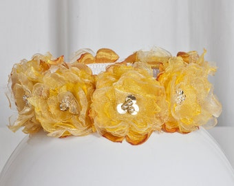 Dog Collar Angel's Couture Flower Power Yellow