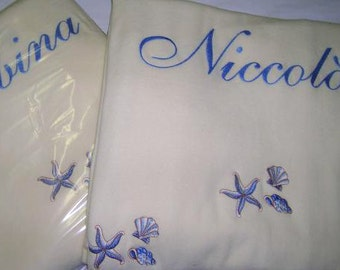 Single bed blanket, fleece, with embroidery and name
