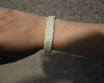 Leather - suede white braided Braided bracelet leather bracelet