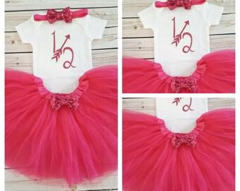 Hot Pink Half Birthday tutu outfit,1/2 birthday outfit,half birthday outfit,hot pink birthday tutu,hot pink tutu,girl birthday outfit