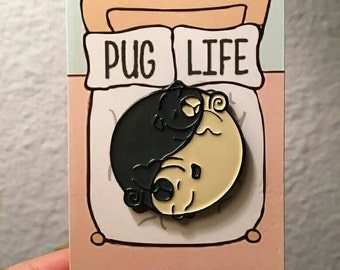 "1.25""  sleeping yin yang pugs, black & fawn"