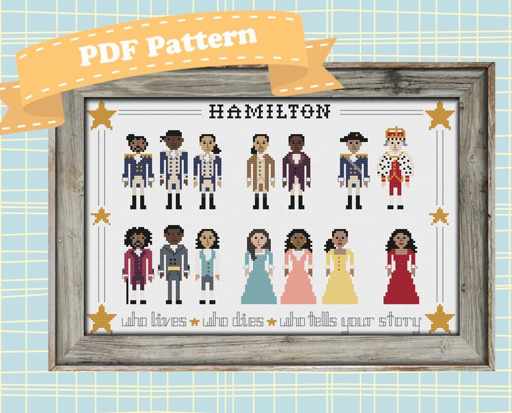 Hamilton cast cross stitch pattern
