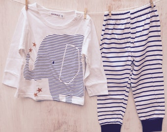 Baby Elephant Blue & White Striped T-Shirt and Pants 6/9 Months.  Last one in stock....