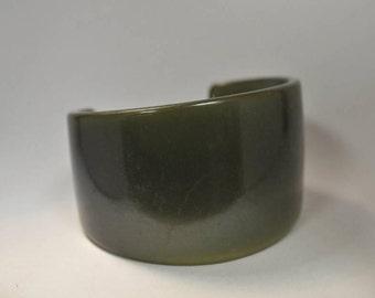 Vintage Extra Wide Bakelite Bangle Bracelet Translucent Dark Green Tested