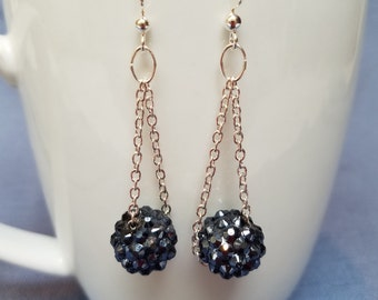 Silver chain and blue sparkly bead earrings, disco ball earrings, navy, black, white, silver, dangle earrings, chain earrings