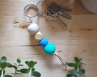 Teal Blue Ivory Polymer Clay Leather Keyring