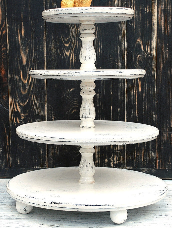 white cake stand medium 4 tier tower hold 16 14 12 10 shabby white 12145