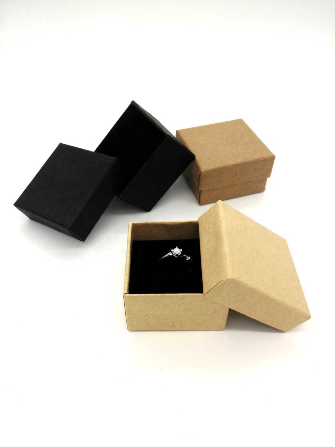 Jewelry box rings boxes 10pcs black ring box gift box for Black box container studios
