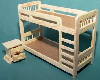 Bedroom Set Bunk BED 2 Tier Bedside Table Dolls House Wooden Barbie  Furniture 1: