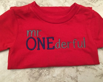 Mr ONEderful embroidered shirt, one, first birthday
