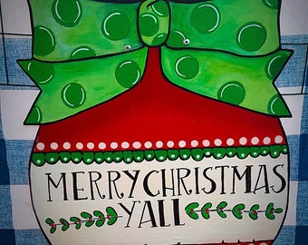 Christmas door hanger, christmas outdoor decor, christmas welcome sign