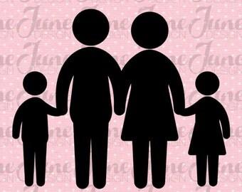 Family silhouette 1 girl 1 boy