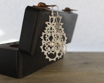 Bridal earrings wedding jewelry - ecofriendly wedding jewelry - Long dangle lace earrings  - lightweight earrings tatting  romantic earrings