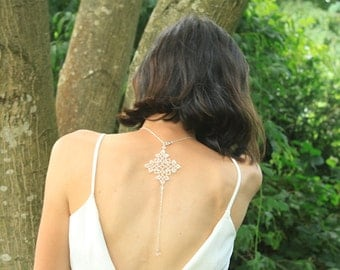 Bridal back necklace lace jewelry - crystal beads Swarovski- dangle pendant in the back backless - wedding backdrop necklace bride back drop