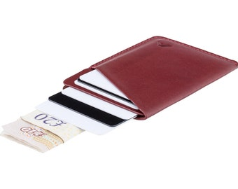 Ultra slim leather card holder / minimalist wallet - A-SLIM - Molten Red - Ninja - Card case - Card wallet - Front Pocket Wallet - Micro