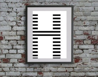 Stripe Letter H Digital Print