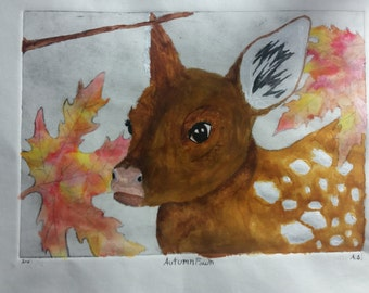 Autumn Fawn print (watercolor, Gouache)
