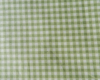 Light green and off-white gingham fabric 1.5 yards