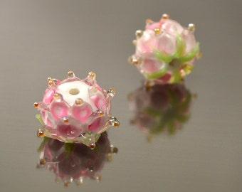 Flower beads, Handmade flower lampwork beads, Lampwork flower, Lampwork glass beads, Floral beads, Artisan lampwork beads, Tender pink