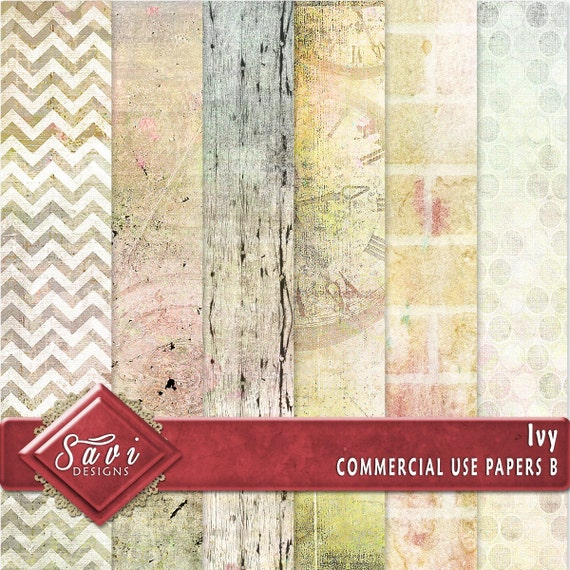 CU Commercial Use Background Papers set of 6 for Digital Scrapbooking or Craft projects Ivy Set B, Designer Stock Papers