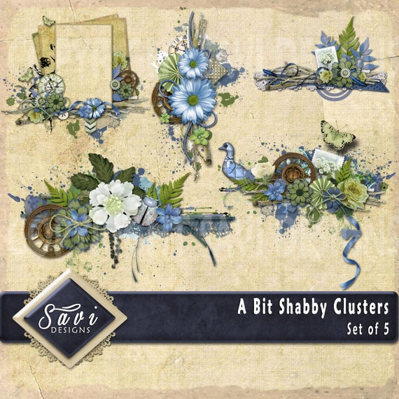 Digital Scrapbooking Clusters set of 5 - A BIT SHABBY  premade embellishment png clusters to make immediate scrap page