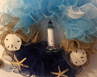 Beach/Lighthouse deco mesh wreath