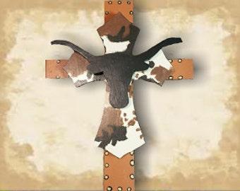 Wooden Longhorn Cross with cowprint detail