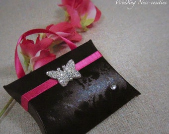 Black Favour Box with Pink Ribbon and Butterfly Embellishment