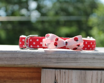 Red and White Polka Dot-Lady Bug Bow Collar