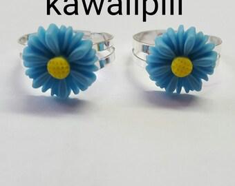 Cute Blue Daisy Rings / Flower Ring Kawaii Harajuku Lolita Decora