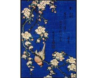 Sakura Digital Print - Blue - Vintage Birds Print - Japanese Vintage Art - Kacho-e - Woodblock - Digital Print - Digital Download - Hokusai