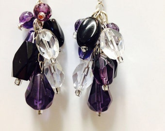 Glass beads earrings mix colors Hands Made
