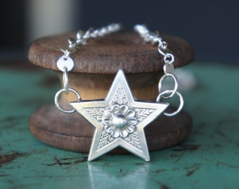 Solid Silver Antique Ornate Shooting Star Necklace