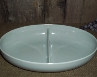 Vtg 1950s Watertown Lifetime Ware Divided Melmac Melamine Serving Bowl, Gray