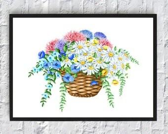 watercolor printable chamomiles basket flowers asters print nursery wall art decor digital download girls room decor flowers poster art