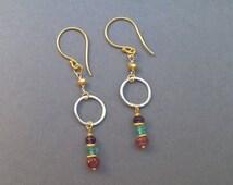 SALE Ruby, apatite & amethyst gold vermeil earrings, mixed metal semi precious earrings, gemstone earrings,