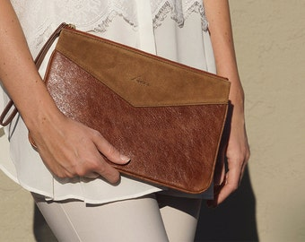 Lena clutch in rustic brown leather and suede