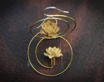 Hand carved wood, lotus flower hoop earring