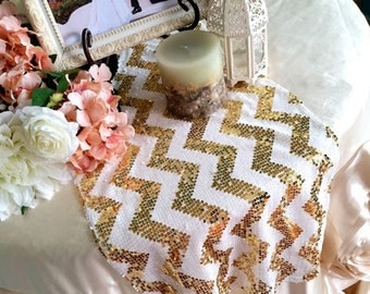 mint green metallic gold white chevron table runner. Black Bedroom Furniture Sets. Home Design Ideas